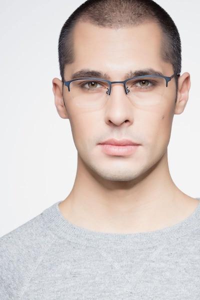 Argil Matte Navy Metal Eyeglass Frames for Men from EyeBuyDirect, Front View