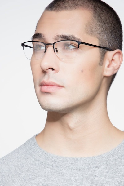 Argil Matte Black  Metal Eyeglass Frames for Men from EyeBuyDirect, Front View
