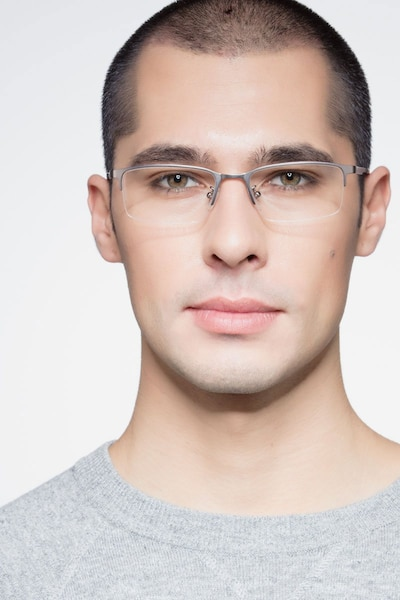 Bezel Dark Charcoal Metal Eyeglass Frames for Men from EyeBuyDirect, Front View