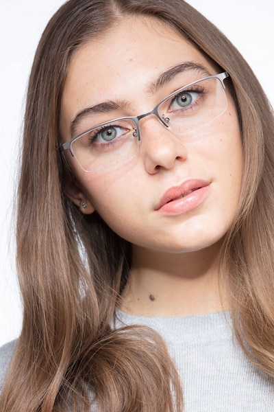 Bezel Dark Charcoal Metal Eyeglass Frames for Women from EyeBuyDirect