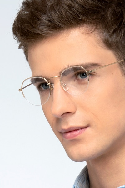 Kalpana Golden Metal Eyeglass Frames for Men from EyeBuyDirect