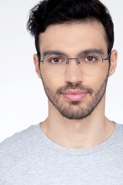 Albee Blue Metal Eyeglass Frames for Men from EyeBuyDirect