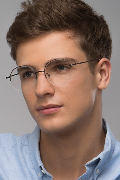 Albee Gunmetal Metal Eyeglass Frames for Men from EyeBuyDirect