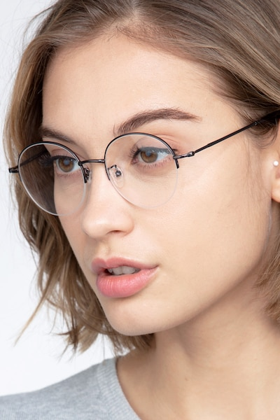 Albee Gunmetal Metal Eyeglass Frames for Women from EyeBuyDirect