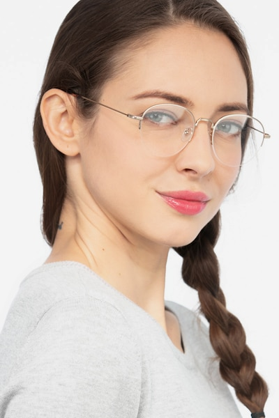 Noblesse Golden Metal Eyeglass Frames for Women from EyeBuyDirect, Front View