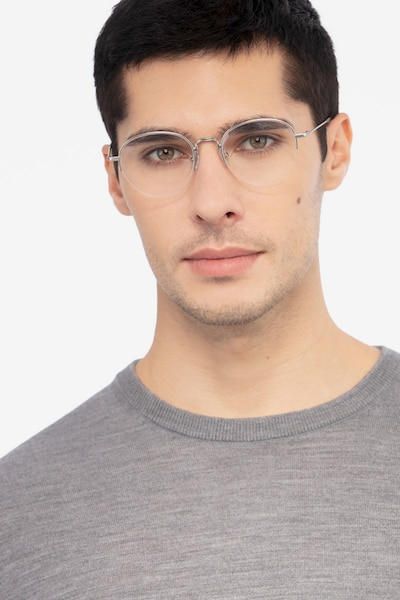 Noblesse Silver Metal Eyeglass Frames for Men from EyeBuyDirect, Front View