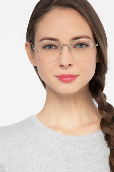 Noblesse Silver Metal Eyeglass Frames for Women from EyeBuyDirect