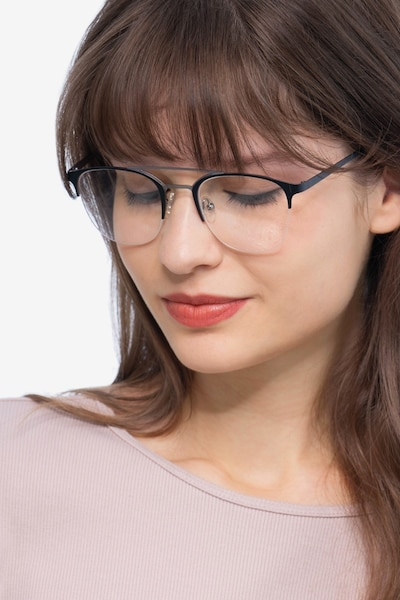 Society Black Metal Eyeglass Frames for Women from EyeBuyDirect