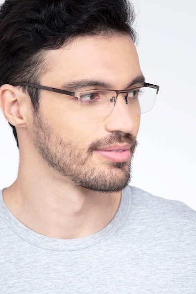 Cavalier Brown Metal Eyeglass Frames for Men from EyeBuyDirect, Front View
