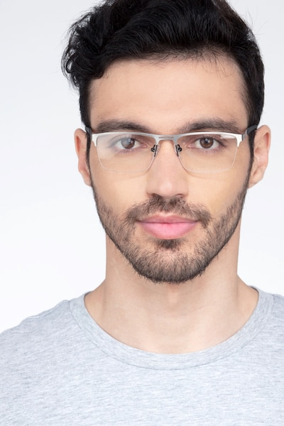 Cavalier Gunmetal Metal Eyeglass Frames for Men from EyeBuyDirect, Front View