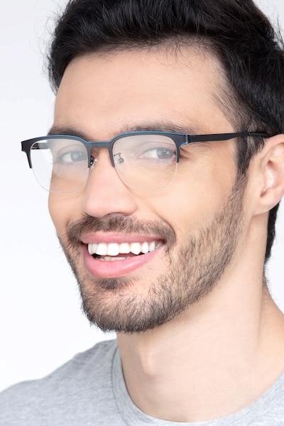 Fathom Blue Black Metal Eyeglass Frames for Men from EyeBuyDirect