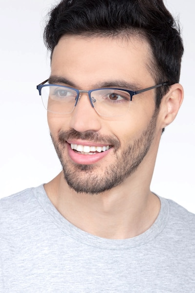 Osmosis Blue Metal Eyeglass Frames for Men from EyeBuyDirect, Front View