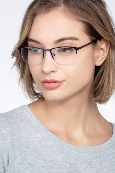 Osmosis Blue Metal Eyeglass Frames for Women from EyeBuyDirect, Front View