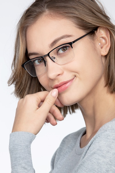 Osmosis Black Metal Eyeglass Frames for Women from EyeBuyDirect, Front View