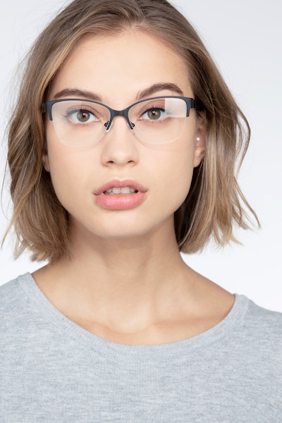 Feline Black Acetate Eyeglass Frames for Women from EyeBuyDirect, Front View