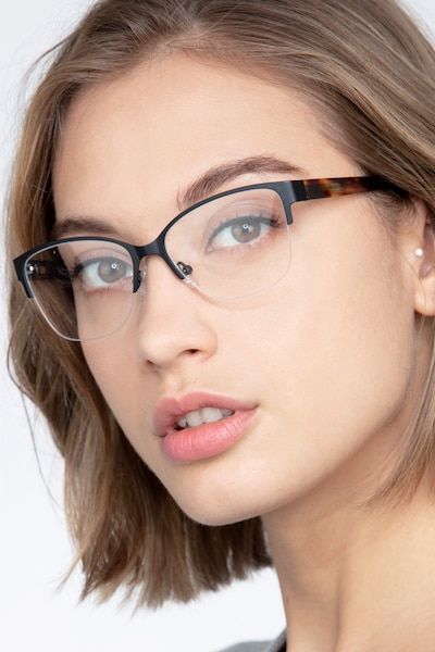 Feline Black Acetate Eyeglass Frames for Women from EyeBuyDirect