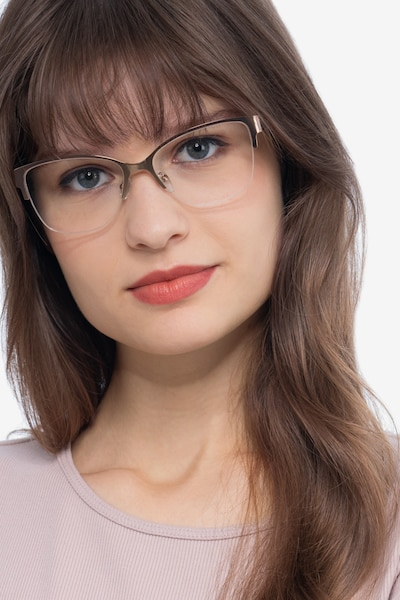 Feline Rose Gold Metal Eyeglass Frames for Women from EyeBuyDirect, Front View