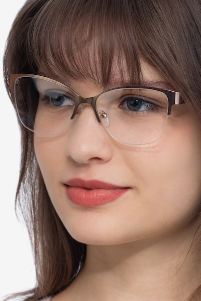 Feline Rose Gold Acetate Eyeglass Frames for Women from EyeBuyDirect