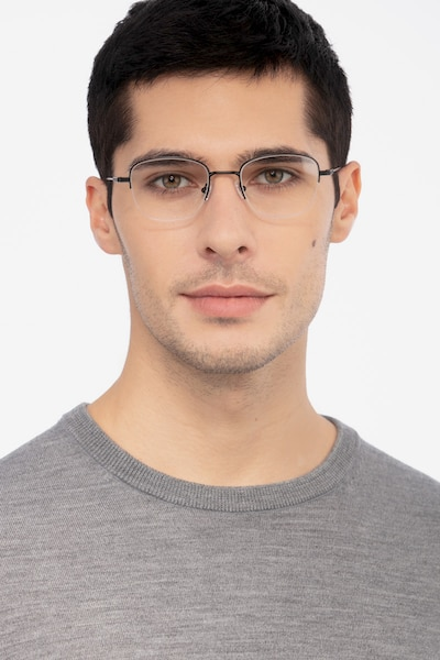 Navigator Black Metal Eyeglass Frames for Men from EyeBuyDirect, Front View