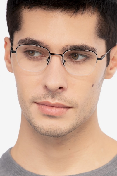 Navigator Black Metal Eyeglass Frames for Men from EyeBuyDirect