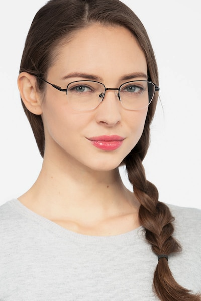 Navigator Black Metal Eyeglass Frames for Women from EyeBuyDirect, Front View