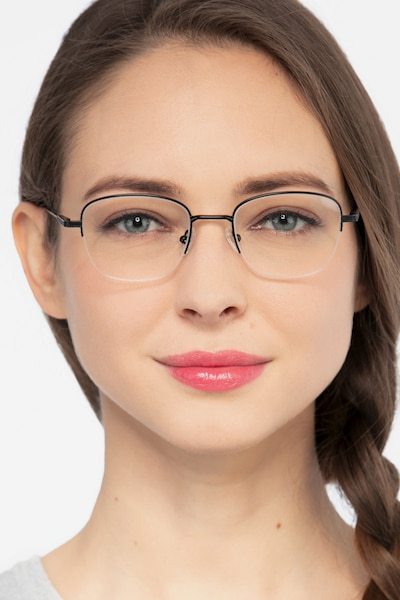 Navigator Black Metal Eyeglass Frames for Women from EyeBuyDirect