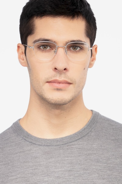 Navigator Silver Metal Eyeglass Frames for Men from EyeBuyDirect, Front View