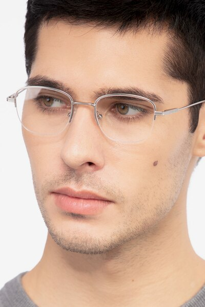 Navigator Silver Metal Eyeglass Frames for Men from EyeBuyDirect