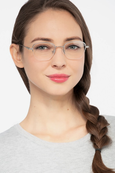 Navigator Silver Metal Eyeglass Frames for Women from EyeBuyDirect, Front View