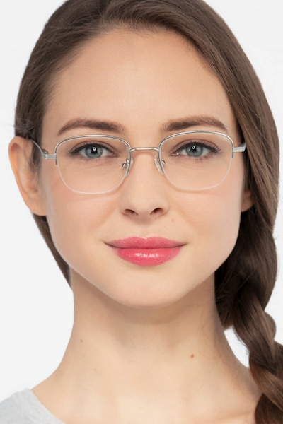Navigator Silver Metal Eyeglass Frames for Women from EyeBuyDirect
