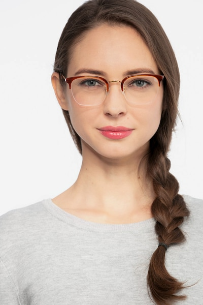 Curie Brown Acetate Eyeglass Frames for Women from EyeBuyDirect, Front View