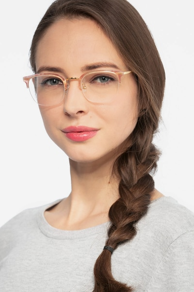 Curie Pink Acetate Eyeglass Frames for Women from EyeBuyDirect, Front View