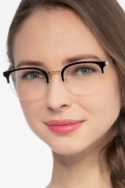 Curie Black Acetate Eyeglass Frames for Women from EyeBuyDirect
