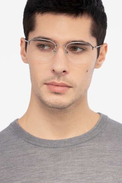 Enya Gunmetal Metal Eyeglass Frames for Men from EyeBuyDirect, Front View