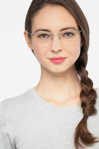 Enya Gunmetal Metal Eyeglass Frames for Women from EyeBuyDirect, Front View
