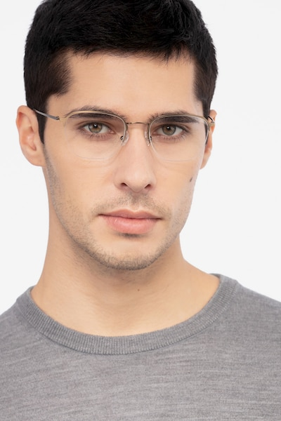 Enya Bronze Metal Eyeglass Frames for Men from EyeBuyDirect, Front View