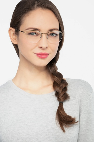 Enya Bronze Metal Eyeglass Frames for Women from EyeBuyDirect, Front View