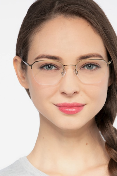 Enya Bronze Metal Eyeglass Frames for Women from EyeBuyDirect
