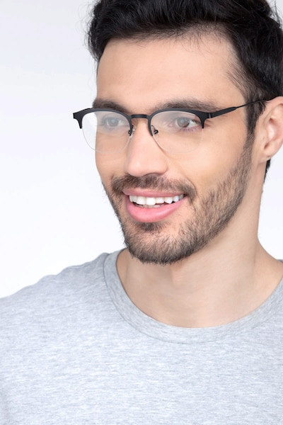 Hemisphere Black Metal Eyeglass Frames for Men from EyeBuyDirect, Front View