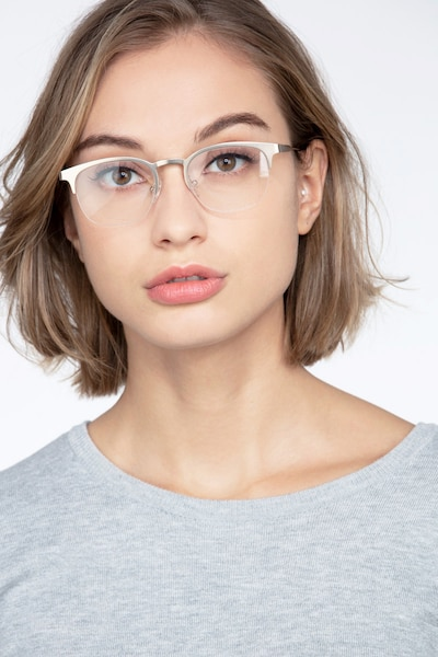 Hemisphere Rose Gold Metal Eyeglass Frames for Women from EyeBuyDirect, Front View