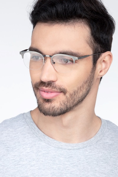 Hemisphere Gunmetal Metal Eyeglass Frames for Men from EyeBuyDirect, Front View