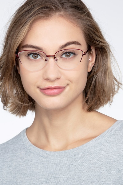 Star Burgundy Metal Eyeglass Frames for Women from EyeBuyDirect, Front View
