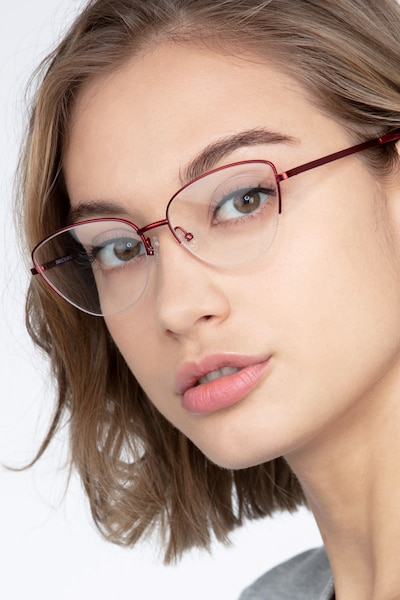 Star Burgundy Metal Eyeglass Frames for Women from EyeBuyDirect