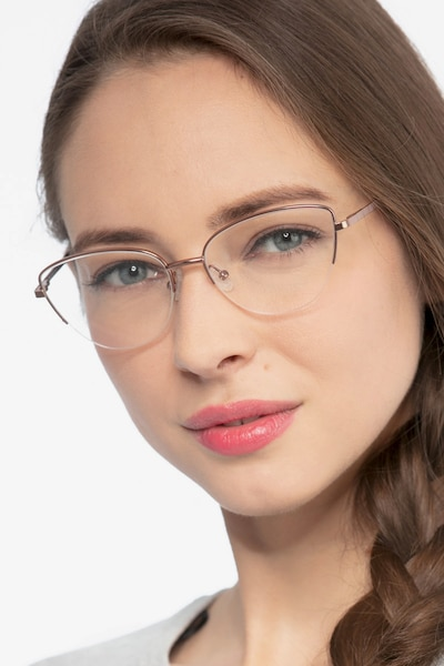 Star Pink Golden Metal Eyeglass Frames for Women from EyeBuyDirect