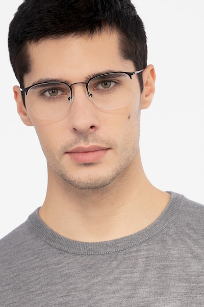 Urban Black Metal Eyeglass Frames for Men from EyeBuyDirect, Front View