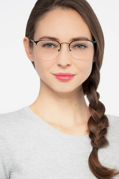 Urban Black Metal Eyeglass Frames for Women from EyeBuyDirect, Front View
