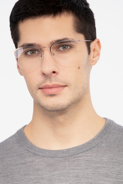Urban Golden Pink Metal Eyeglass Frames for Men from EyeBuyDirect, Front View