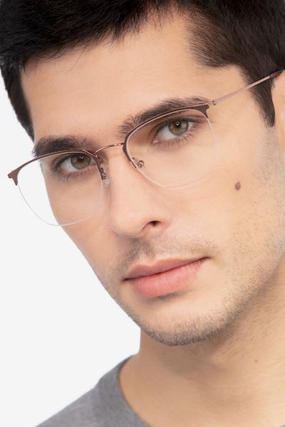 Urban Golden Pink Metal Eyeglass Frames for Men from EyeBuyDirect