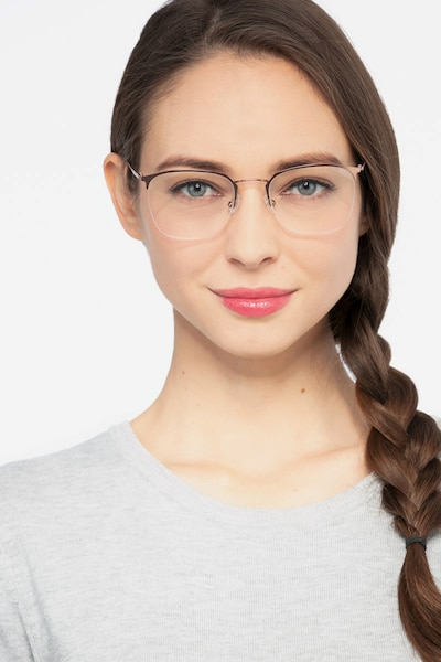 Urban Golden Pink Metal Eyeglass Frames for Women from EyeBuyDirect, Front View