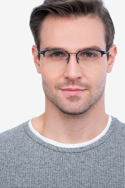 Wings Blue Metal Eyeglass Frames for Men from EyeBuyDirect